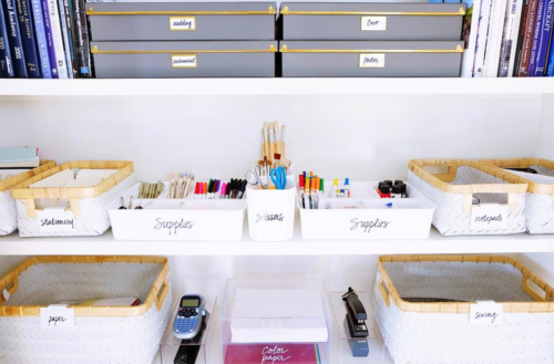 organized office supplies the home edit