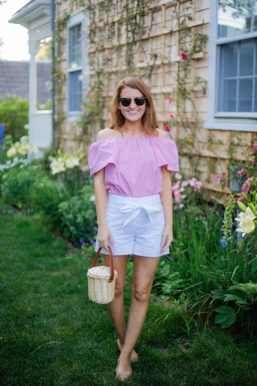 topshop pink gingham bardot top