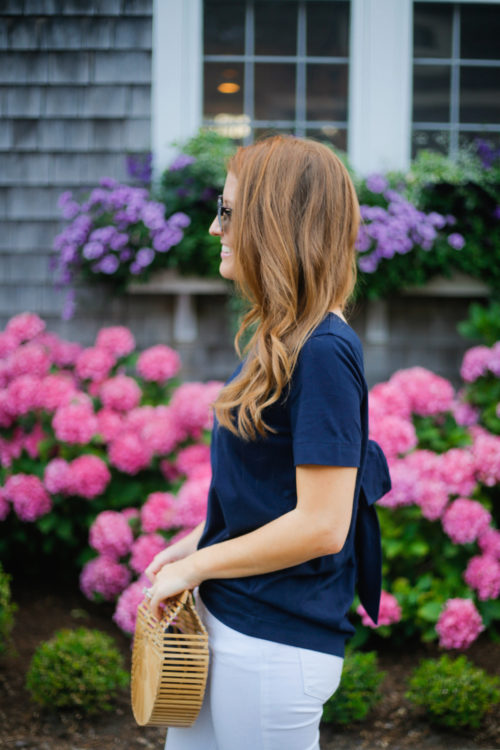 banana republic bow-back couture tee in navy