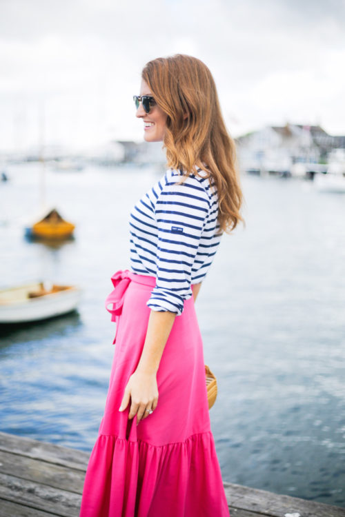 design darling saint james striped shirt and j.crew collection tie-waist button-front skirt in italian wool-2