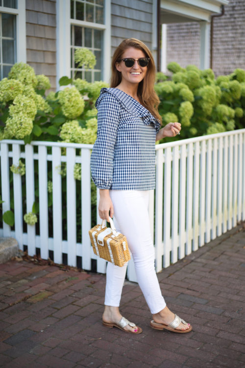 j.crew gingham one-shoulder ruffle top