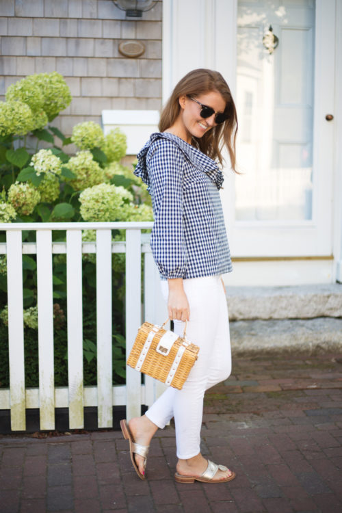 j.crew gingham one-shoulder ruffle top and milly wicker small satchel