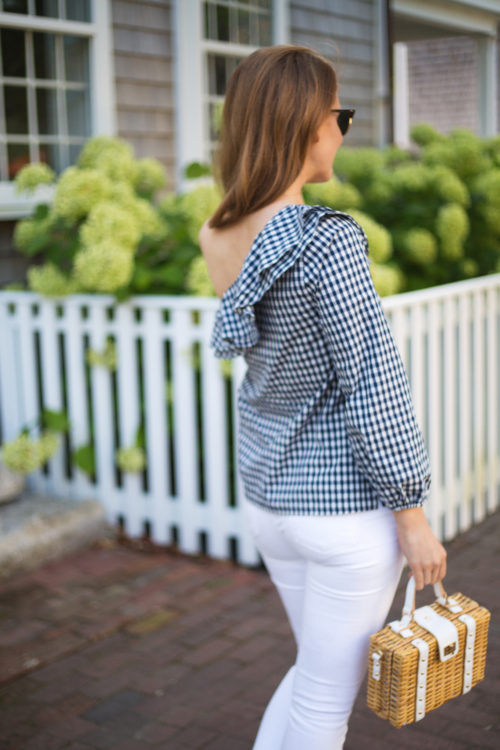 j.crew gingham one-shoulder ruffle top milly wicker small satchel
