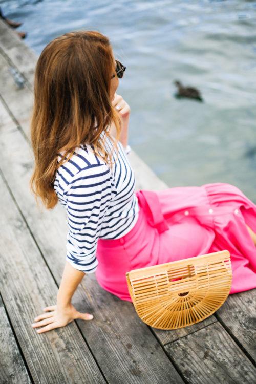saint james striped shirt j.crew collection tie-waist button-front skirt in italian wool-2