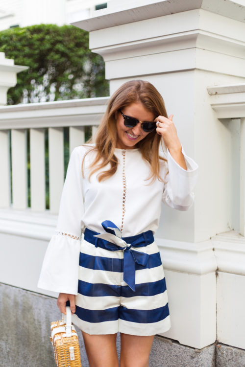 design darling karina grimaldi calista top and j.crew satin short in stripe