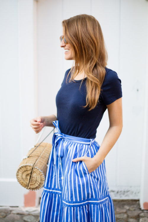 illesteva leonard sunglasses and j.crew button-front striped skirt
