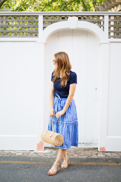 j.crew button-front striped skirt
