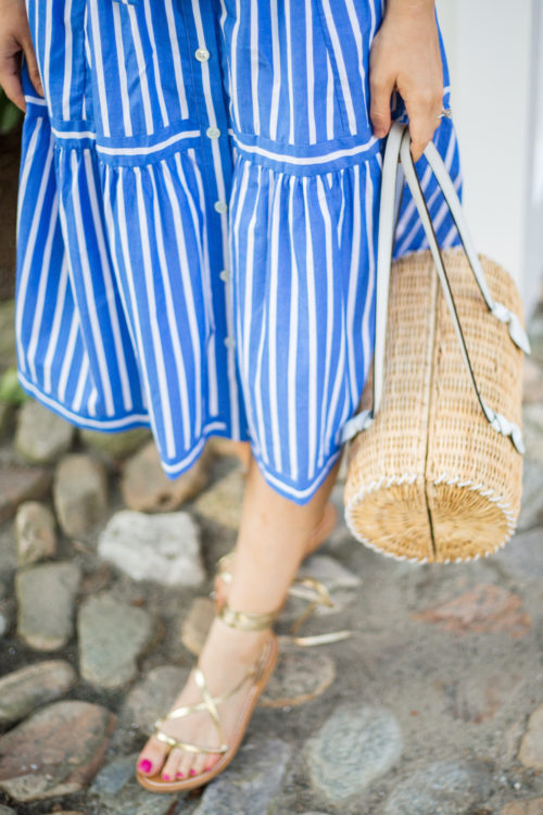 j.crew button-front striped skirt and k. jacques lucile wrap sandals in gold