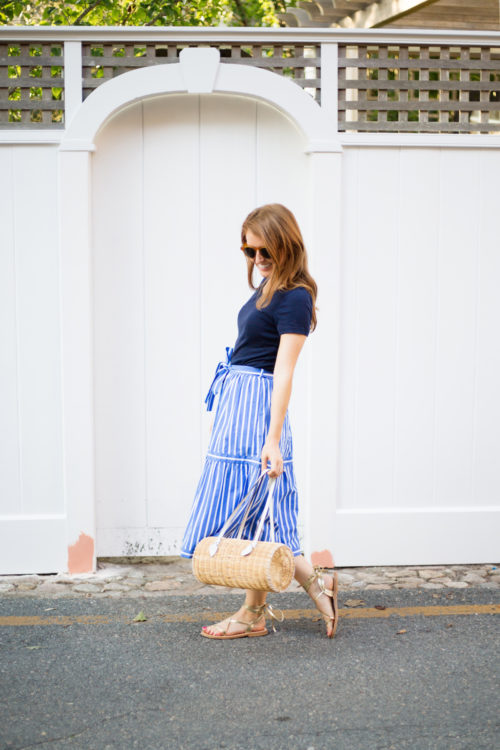 j.crew button-front striped skirt and pamela munson agatha satchel on design darling