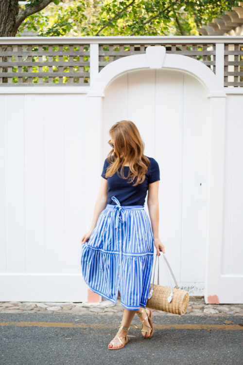 j.crew button-front striped skirt pamela munson agatha satchel k. jacques lucile wrap sandals