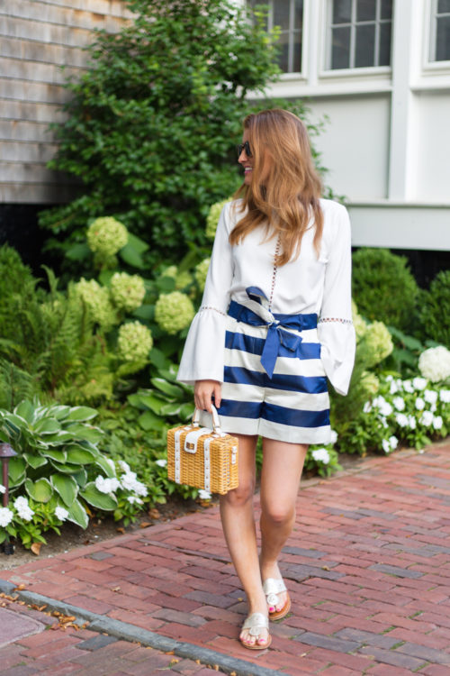 karina grimaldi calista top and j.crew satin short in stripe