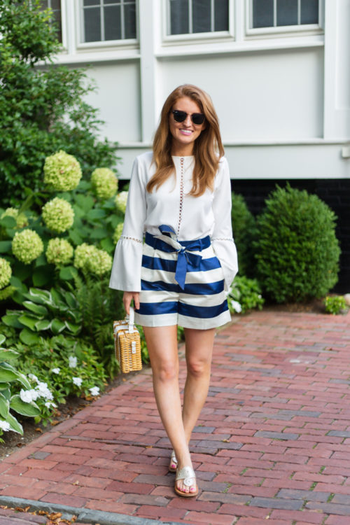 karina grimaldi calista top j.crew satin short in stripe