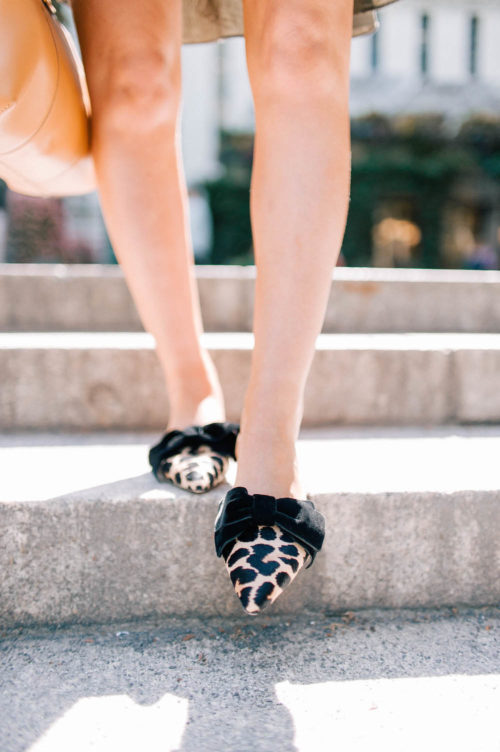 kate spade belgrove flats leopard mules with bow