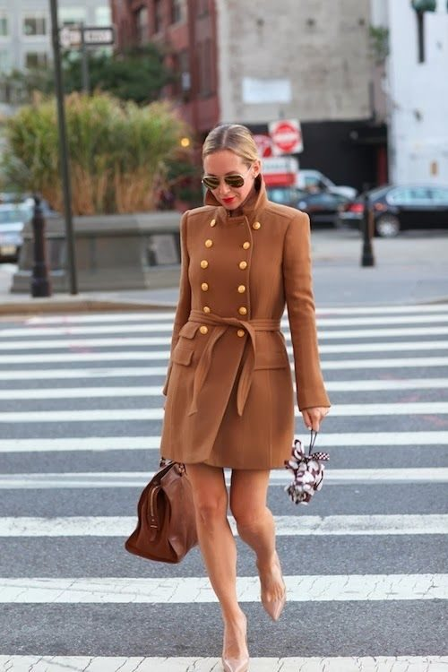brooklyn blonde camel military coat