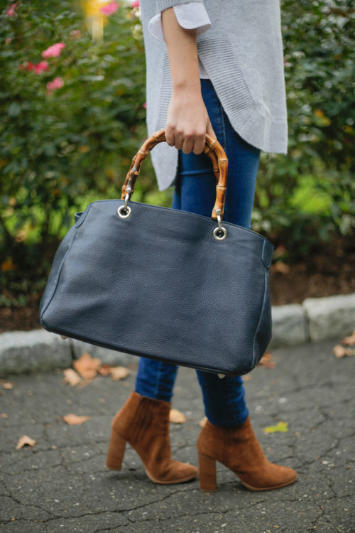 Mark & Graham Bamboo Elisabetta Slouch Handbag in navy