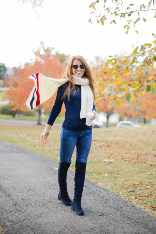 bp varsity stripe oblong scarf and stuart weitzman 5050 boots in nice blue suede