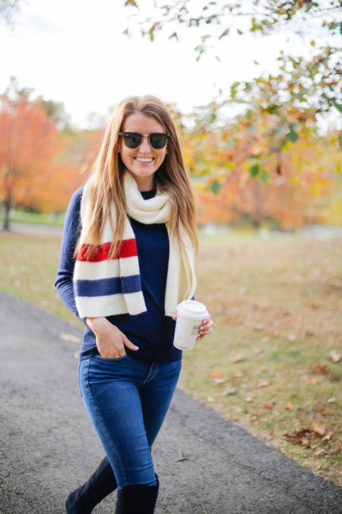 bp. varsity stripe oblong scarf