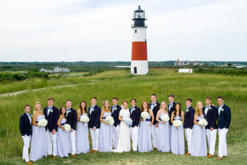 design darling bridal party photos at sankaty lighthouse