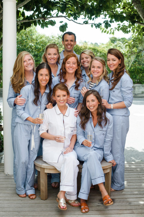 design darling bridesmaids in monogrammed pajamas