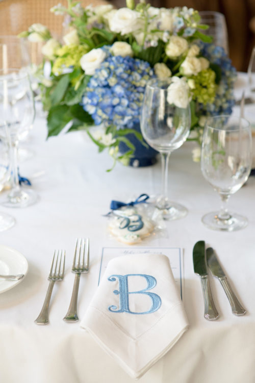 design darling monogrammed napkins at rehearsal dinner
