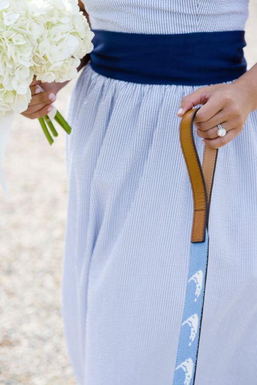 design darling seersucker bridesmaids dresses and nantucket needlepoint leash