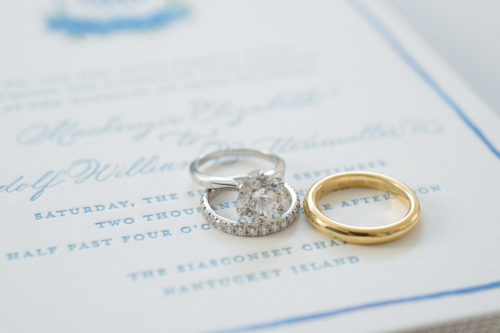design darling wedding invitations with engagement ring and wedding bands