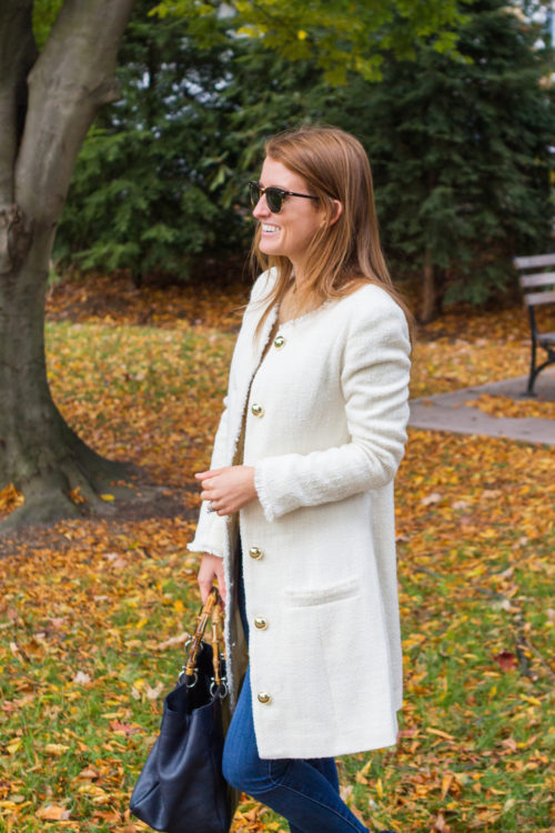 design darling white tweed coat