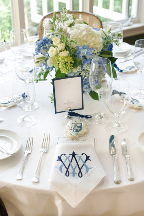 monogrammed napkins at rehearsal dinner