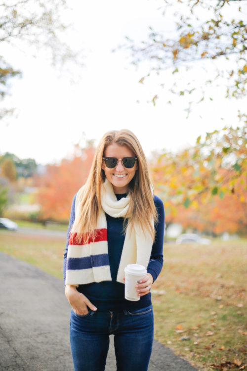 ray-ban clubmasters and bp varsity stripe oblong scarf nordstrom