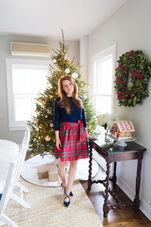 j.crew tippi sweater vineyard vines jolly plaid taffeta party skirt and manolo blahnik umice suede crisscross pumps