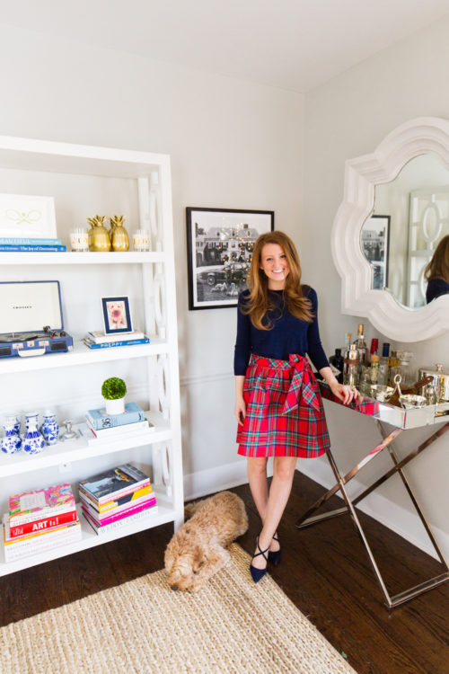 j.crew tippi sweater vineyard vines jolly plaid taffeta party skirt and manolo blahnik umice suede crisscross pumps on design darling