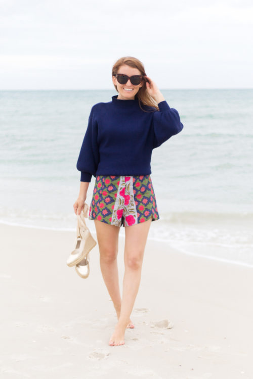 line & dot alder sweater in navy and rhode resort sami shorts