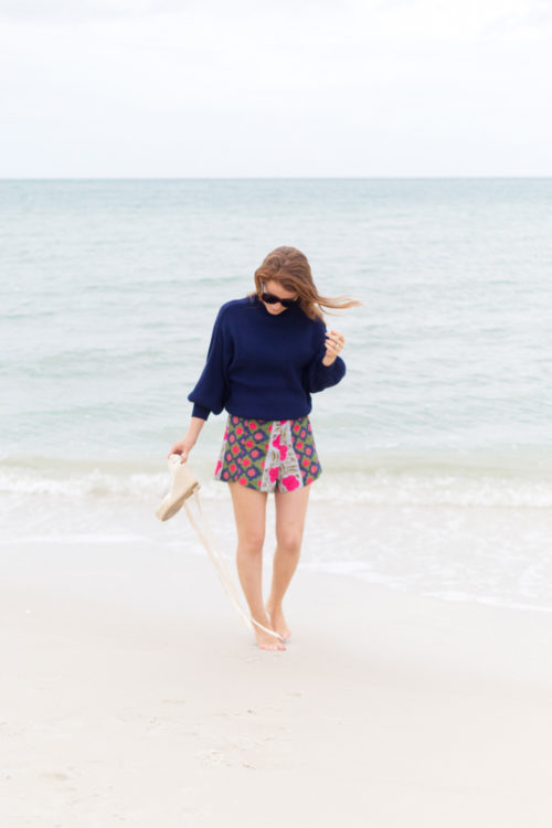 line & dot alder sweater in navy with rhode resort sami shorts