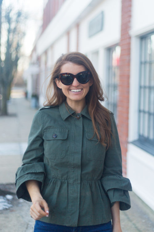 banana republic peplum utility jacket and celine cat eye sunglasses