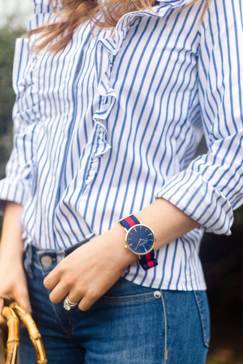 banana republic riley-fit stripe ruffle-front shirt and kiel james patrick lake tahoe adventurer watch