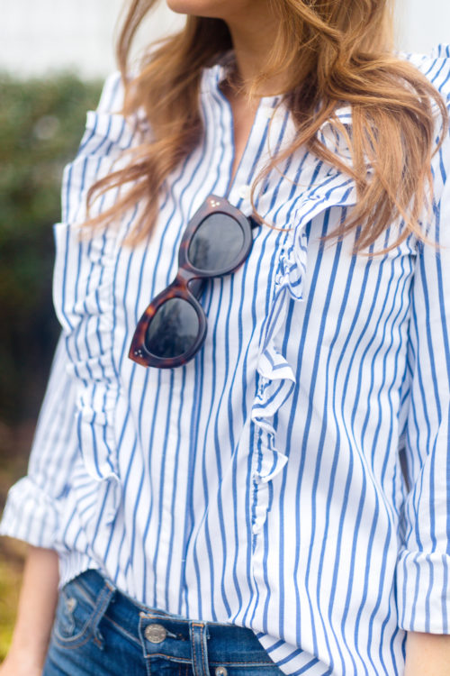 design darling celine sunglasses and banana republic riley-fit stripe ruffle-front shirt