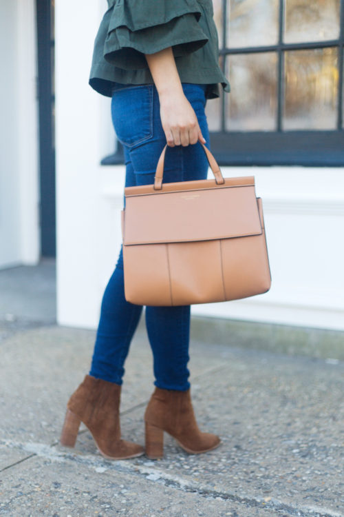 tory burch block t top handle satchel and joie yara booties
