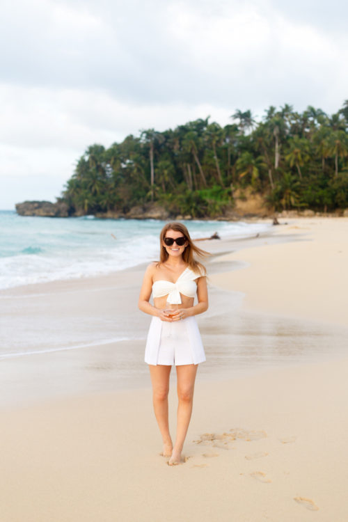 design darling white bikini at playa grande beach club dominican republic