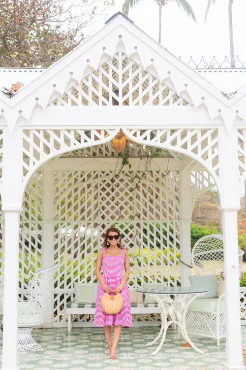 elizabeth mckay smocked pink gingham dress