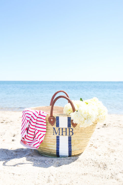 hand-painted straw beach bag mark & graham