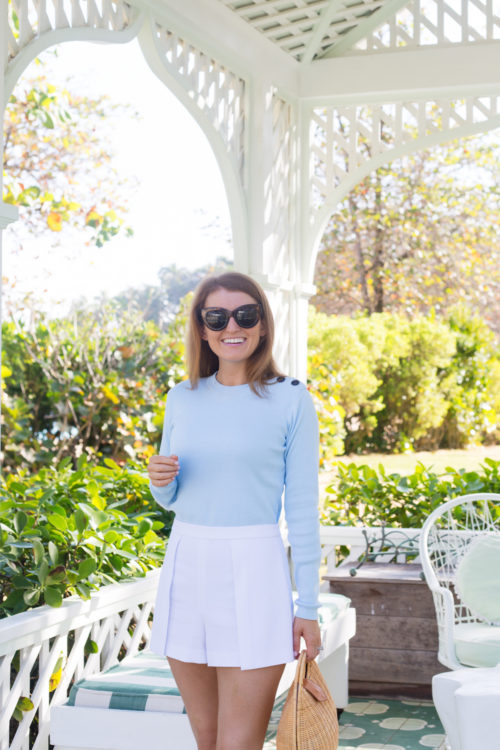 petit bateau pale blue sweater at playa grande beach club in dominican republic