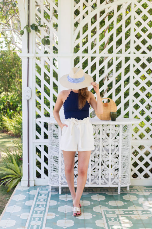 hat attack harbor hat marysia swim mott maillot navy and amanda uprichard tessi shorts