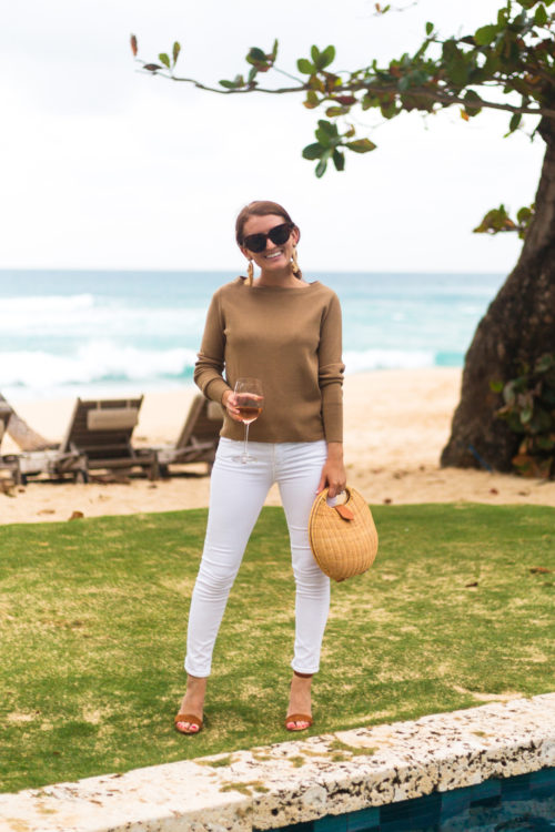 j.crew subtle boatneck sweater in khaki