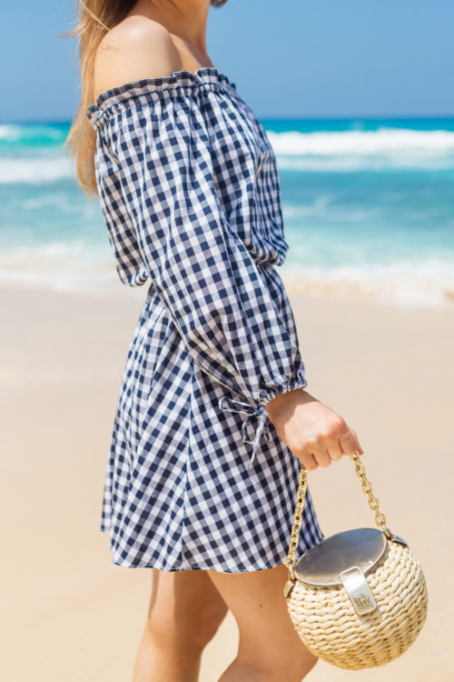 lovers + friends get lost dress in medium blue gingham on design darling
