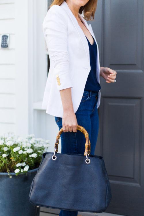 smythe duchess blazer and mark and graham bamboo elisabetta slouch handbag