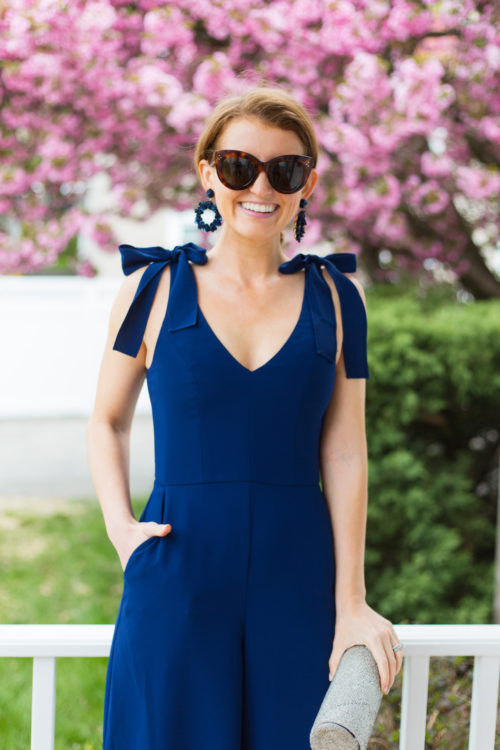 amanda uprichard iris jumpsuit navy blue