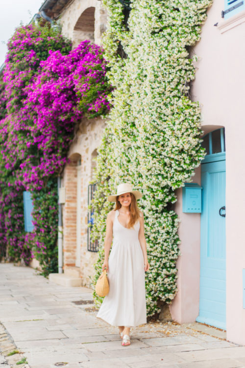 design darling in grimaud wearing rachel pally linen katy dress