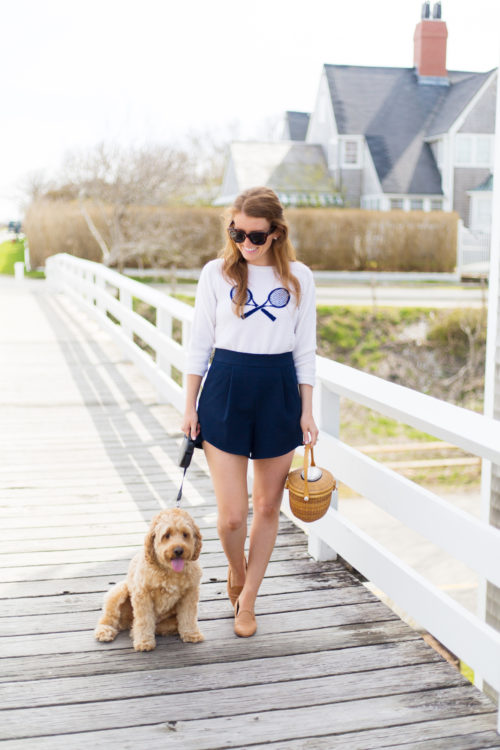 design darling lightship basket two bees cashmere tennis racket sweater milly italian cady petal trapunto shorts