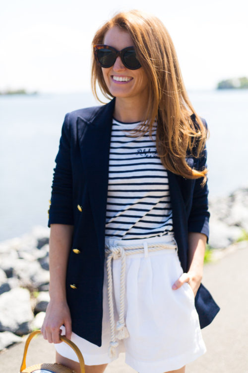 design darling navy blazer striped shirt and white shorts