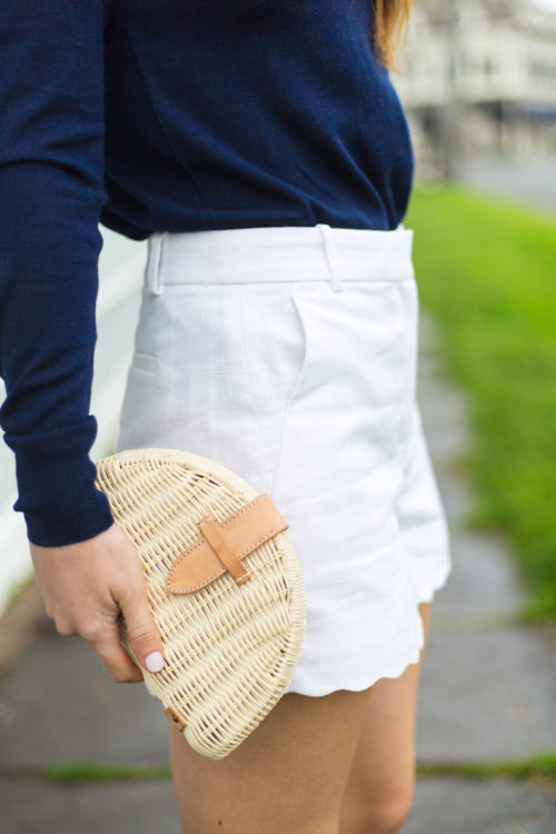j.crew 3 short with scalloped hem and j.crew fan rattan clutch